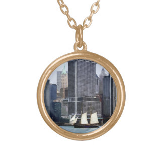 Boats - Schooner Against the Manhattan Skyline Necklaces
