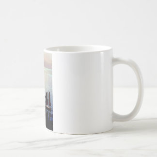 Boats sunset painting coffee mug