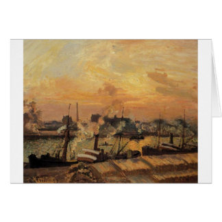 Boats, Sunset, Rouen by Camille Pissarro Greeting Card