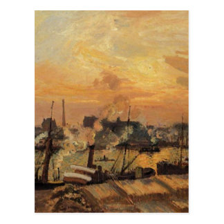 Boats, Sunset, Rouen by Camille Pissarro Postcard