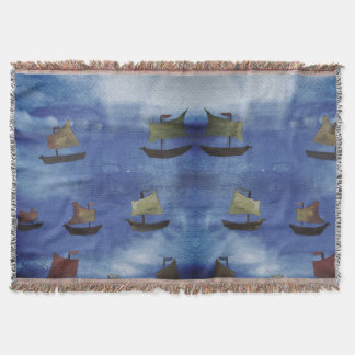 Boats watercolor Blue Sea Throw Blanket