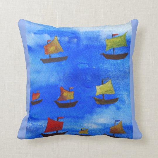 Boats watercolor Blue Sea Throw Cushion