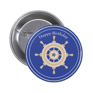 Boats Wheel Nautical Happy Birthday Button 2 Inch Round Button