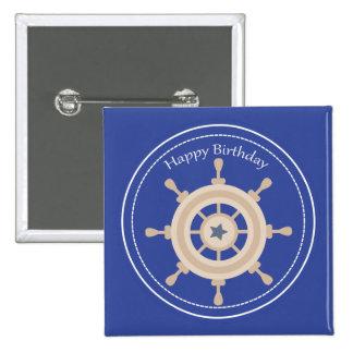 Boats Wheel Nautical Happy Birthday Square Button 2 Inch Square Button