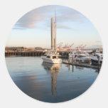 BoatsPier041609 Classic Round Sticker