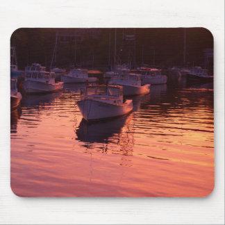 Boatyard at sunset mouse pad