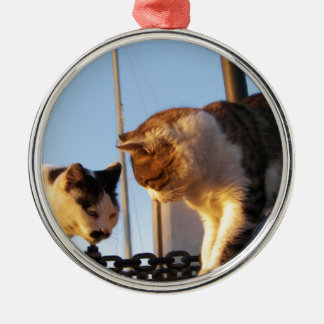 Boatyard Cats Silver-Colored Round Decoration