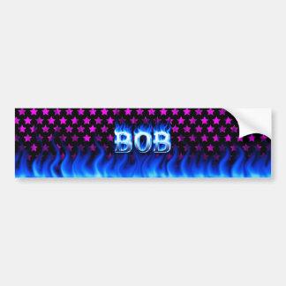 Bob blue fire and flames bumper sticker design.
