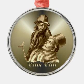 Bob Cratchit and Tiny Tim Christmas Carol Round Metal Christmas Ornament
