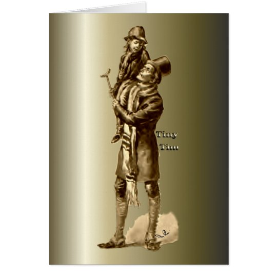 Bob Cratchit and Tiny Tim Christmas Carol Greeting Card