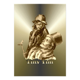 Bob Cratchit and Tiny Tim Christmas Carol Personalized Announcements