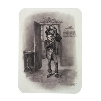 Bob Cratchit and Tiny Tim, from 'Charles Dickens: Rectangular Photo Magnet