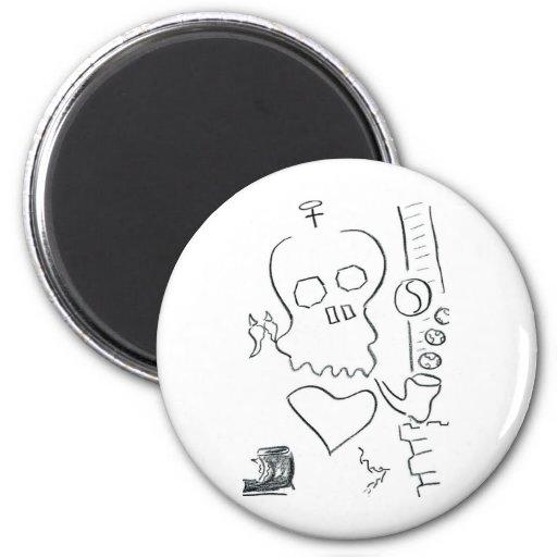 Bob Dobbs Skull Refrigerator Magnets