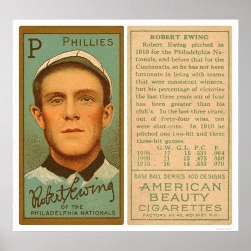 Bob Ewing Phillies Baseball 1911 Print