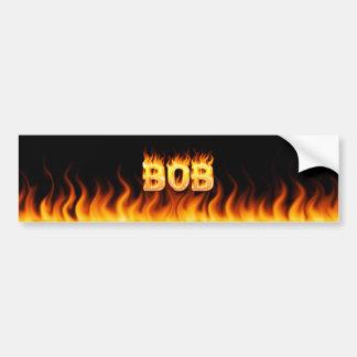 Bob real fire and flames bumper sticker design.