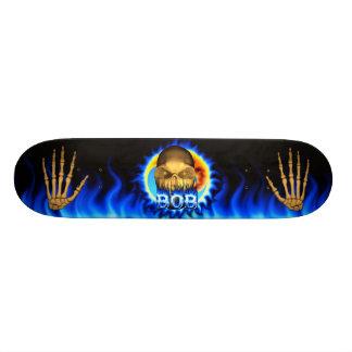 Bob skull blue fire and flames skateboard design.