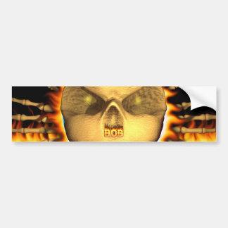 Bob skull real fire and flames bumper sticker desi car bumper sticker