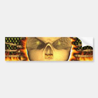 Bob skull real fire and flames bumper sticker desi