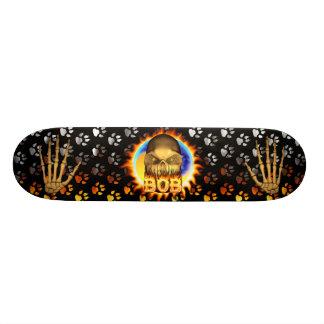 Bob skull real fire and flames skateboard design
