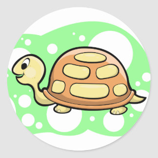 Bob the Turtle Illustration Round Stickers