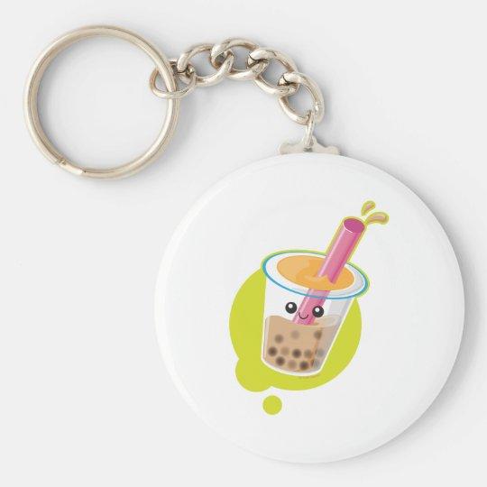 Boba Tea Basic Round Button Key Ring