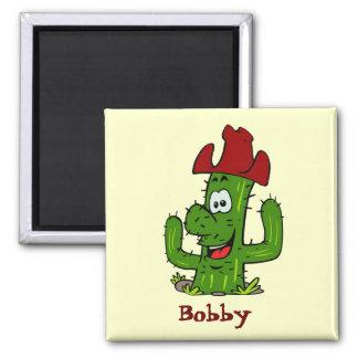 Bobby Catcus Cowboy Square Magnet
