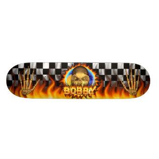 Bobby skull real fire and flames skateboard design