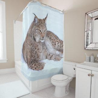 bobcat on snow shower curtain