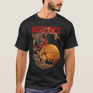 Bobcats Realistic bobcat Basketball Team design T-Shirt