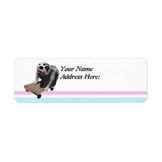 Bobo rides his skateboard return address label