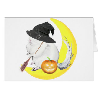 Bobo the chinchilla halloonween witch card