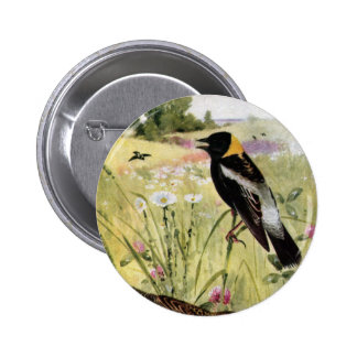 Bobolinks, Daisies and Pink Clover 6 Cm Round Badge