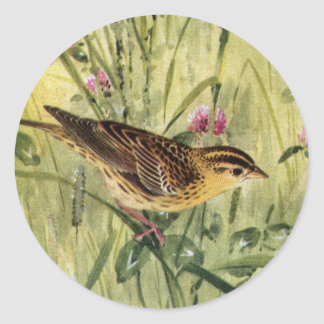 Bobolinks, Daisies and Pink Clover Classic Round Sticker