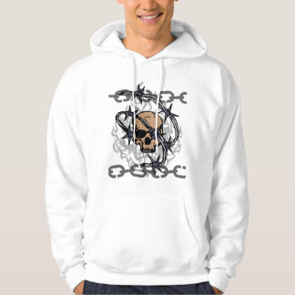 Bobwire chained skull hoodie