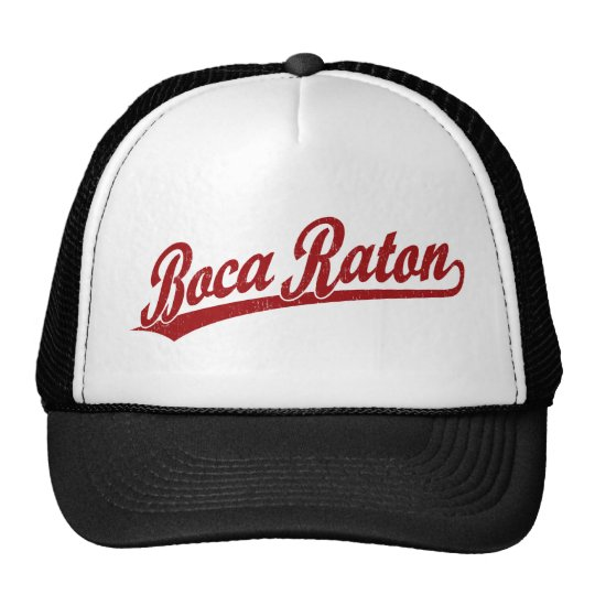 Boca Raton script logo in red Cap