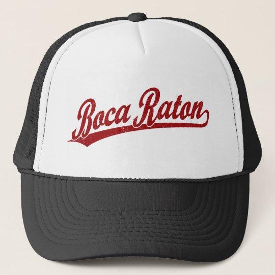 Boca Raton script logo in red Trucker Hat