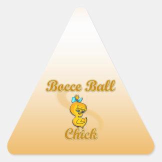 Bocce Ball Chick Triangle Sticker
