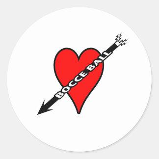 Bocce Ball Heart Round Sticker
