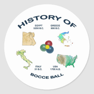 Bocce Ball History Round Sticker