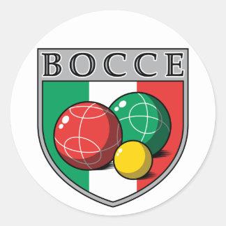 Bocce Shield Round Sticker