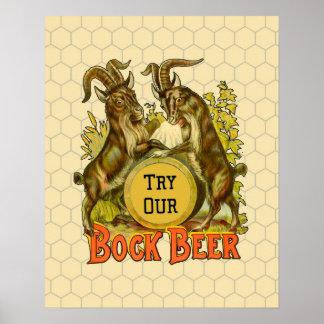 Bock Beer Goats Vintage Advertising Poster