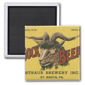 Bock Beer Label Square Magnet