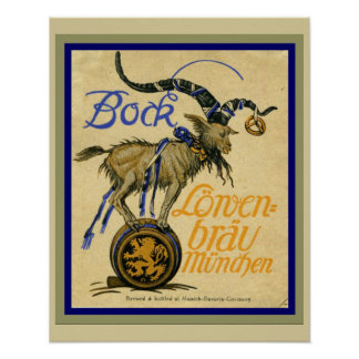 Bock Lowenbrau Munden Vintage Ad Poster 16 x 20