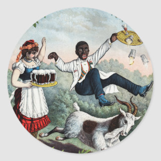 Bock, stock beer advertising poster, 1889 round sticker