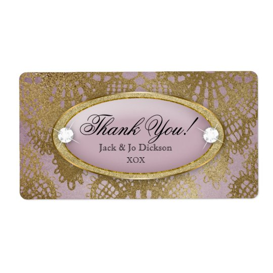 Bodacious Wedding Mauve Gold Lace Thank You Shipping Label