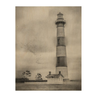 "Bodie Island Lighthouse 11""x14"" Wood Wall Art"