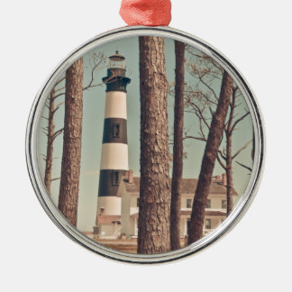Bodie Island Lighthouse. Round Metal Christmas Ornament