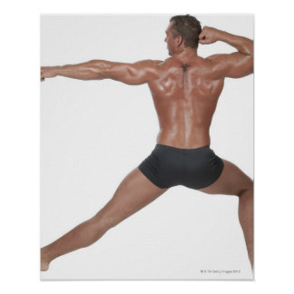 Body Builder in Lunge Pose Poster