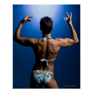 Body builder posing poster