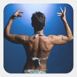 Body builder posing square sticker